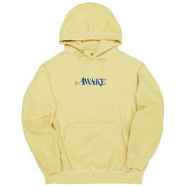 Awake NY Classic Embroidered Logo Hoodie - Daffodil Light Yellow