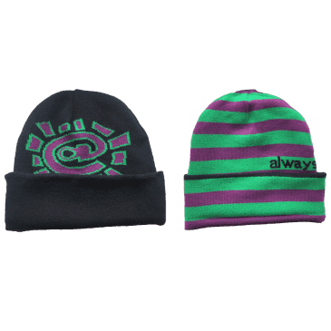 always do what you should do - reversible cuff beanie - purple/green
