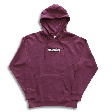 No-Comply Embroidered Script Box Youth Pull Over Hoodie - Burgundy