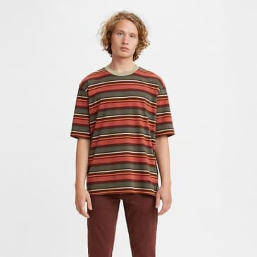 Levi's Stay Loose Striped Ringer Tee Multi Bitter Chocolate