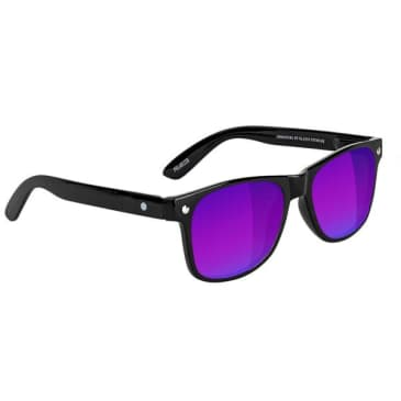 Glassy - Leonard Polarized Sunglasses - Black/Blue Mirror