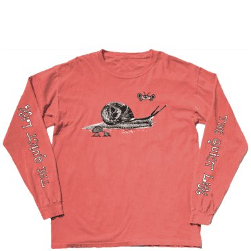 The Quiet Life Snail Long Sleeve T-Shirt - Pigment Dyed Salmon
