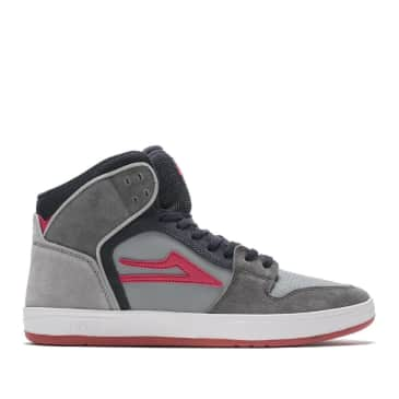 Lakai Telford Suede Skate Shoes - Grey / Coral