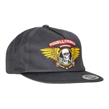 Powell Peralta Winged Ripper Snapback Hat Charcoal