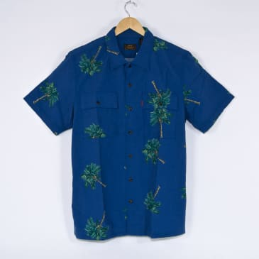 Levi's Skateboarding Collection - Skate Short Sleeve Button Down - Watercolour Palm / Bright Cobalt