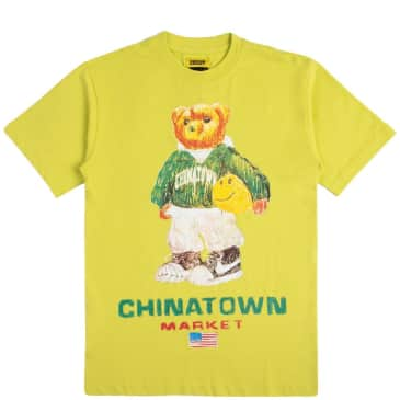 Chinatown Market Smiley Sketch Basketball Bear T-Shirt - Yellow