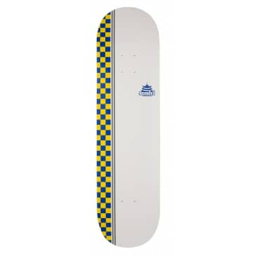 "Sushi Checker Logo White, Blue, Yellow Skateboard Deck - 8.125"""