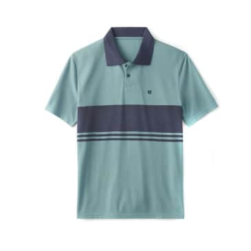 Brixton Shield Stripe Crossover Knit Polo - Ocean/Washed navy