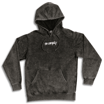 No-Comply Embroidered Script Box Pull Over Hoodie - Washed Black