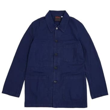 Vetra French Workwear Cotton Drill Jacket - Blue Dungaree Wash