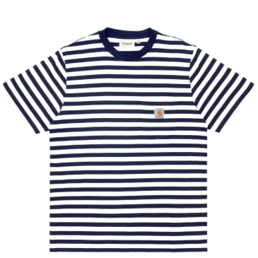 Carhartt WIP Scotty Stripe Pocket T-Shirt Dark Navy - White