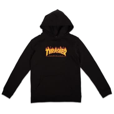 THRASHER YOUTH FLAME LOGO HOODIE - BLACK