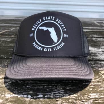 """RELIEF """"FLORIDA"""" TRUCKER HAT BLACK"""