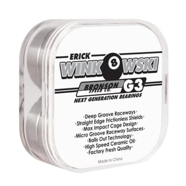 Bronson Speed Co Erick Winkowski Pro G3 Skateboard Bearings - Black / White