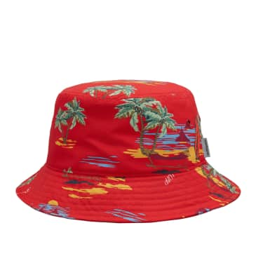 Carhartt WIP Beach Bucket Hat - Beach Print / Etna Red