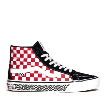 Vans Skate Sk8-Hi Reissue Shoes - Grosso '84 Black / Red Check