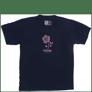 Cortina Bearing Co Rose T-Shirt - Navy