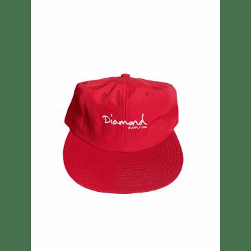 Diamond Supply Co. Mini OG Script Unstructured 6-Panel red