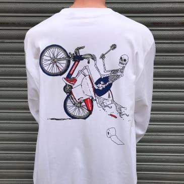 Lovenskate On Ya Bike Boris Long Sleeve T Shirt - White