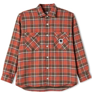 Polar Skate Co Flannel Shirt - Orange / Brown / Ivory / Blue