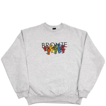 Bronze 56k Bolt Boys Embroidered Crewneck - Ash Grey