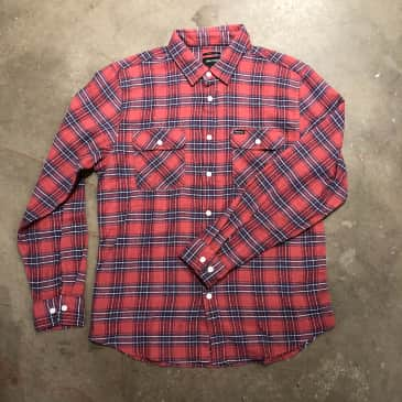 Brixton Mens Bowery Long Sleeve Flannel Cowhide