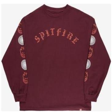Spitfire Old E Combo Long Sleeve T-shirt - Burgundy