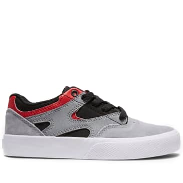 DC Kalis Vulc Youth Skate Shoes - Black / Red / Grey