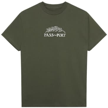 Pass~Port Quill Embroidered T-Shirt - Army