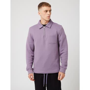 Bhode Everyday Half-Zip Collar Sweatshirt (Loopback) - Purple Sage