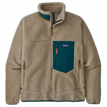 Patagonia Classic Retro-X Jacket - Pelican Beige w/ Dark Borealis Green