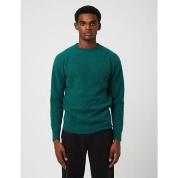 Bhode Supersoft Lambswool Jumper (Made in Scotland) - Forest Sheen Green