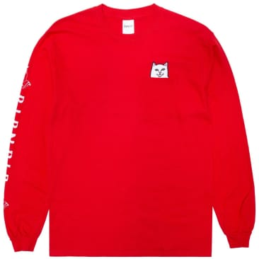 Ripndip Lord Nermal Pocket Long Sleeve T-Shirt - Cherry Red