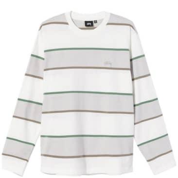 Stüssy Bold Stripe Long Sleeve Crew T-Shirt - Bone