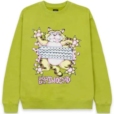 Brain Dead Relaxed Cat Crewneck - Olive