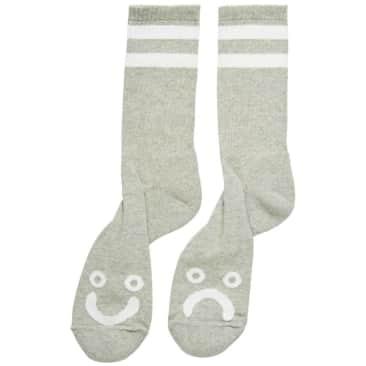 Polar Happy Sad Socks - Heather Grey
