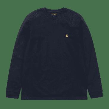 Carhartt WIP L/S Chase T-Shirt - Dark Navy/Gold