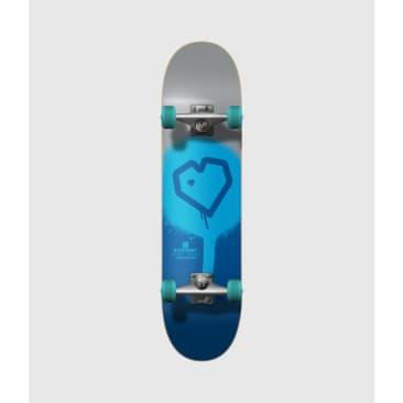 "Blueprint Skateboards Spray Heart Silver/Blue Complete Skateboard 7.75"""