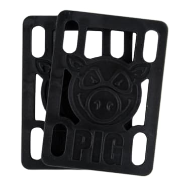 "Pig Wheels Black Riser Pads - Set of Two (2) - 1/4"""