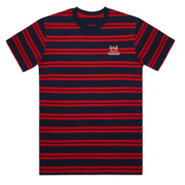 Toy Machine Striped Monster Embroidery Tee Navy/Red