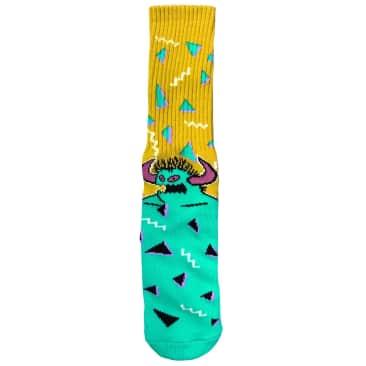 Toy Machine 80s Monster Crew Socks Yellow/Turq