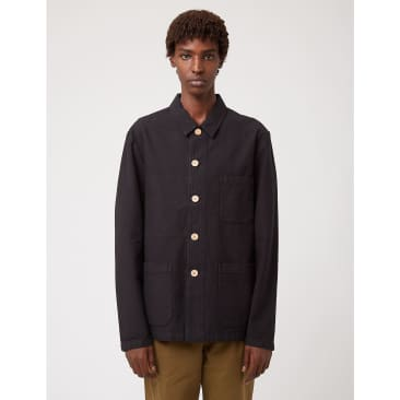 Bhode Chore Jacket (Wood Buttons) — Black