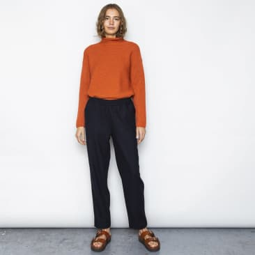 Folk Womens Drawcord Signal Pant: Navy Wool Twill