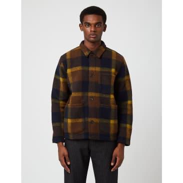 Universal Works Field Jacket (Large Plaid Fleece) - Navy Blue/Yellow