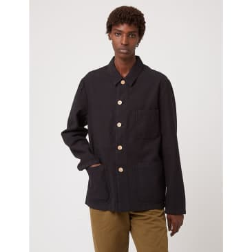 Bhode Chore Jacket (Wood Buttons) - Black