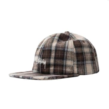 Stussy Flannel Plaid Stock Snap Back - Brown