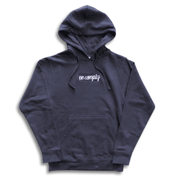 No-Comply Embroidered Script Box Pull Over Hoodie - Navy