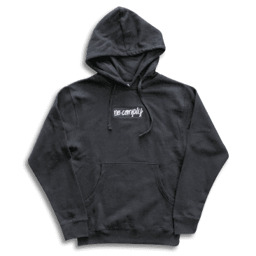No-Comply Embroidered Script Box Pull Over Hoodie - Black