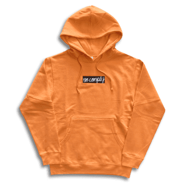 No-Comply Embroidered Script Box Pull Over Hoodie - Safety Orange