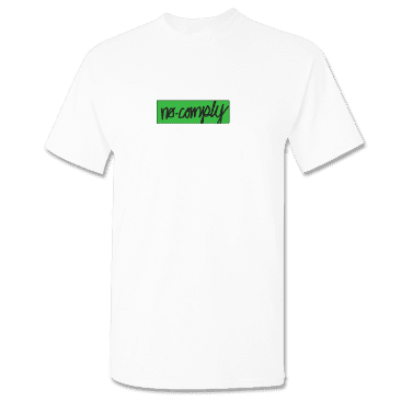 No-Comply Solar Activated Script Box Shirt - White
